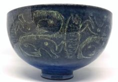 Large Rare Blue 1960s Mary & Edwin Scheier Modern Studio Art Pottery Bowl As Is