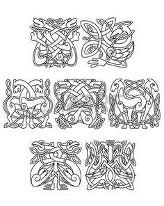 Illustration of Stork, crane and heron birds celtic ornaments for design, decoration or religion design vector art, clipart and stock vectors. Art Viking, Viking Symbols, Viking Woman, Viking Designs, Celtic Designs, Line Art Projects, Symbole Viking, Medieval Embroidery, Crane Design