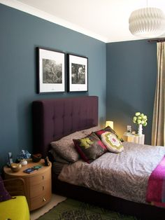 HABITAT ART FRAMES ABOVE BED BEDROOM WALL DULUX steel symphony BLUE NUDES  GROUP purple bed tufted