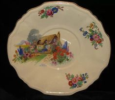 Cottage plate, by Alfred Meakin. Cottage Art, Cottage Design, Cottage Homes, Old Plates, Plates And Bowls, Plates On Wall, Antique Dishes, Vintage Dishes, Vintage China