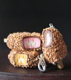 Nutty ice cream charm almond ice cream charm miniature food jewelry handmade with polymer clay cute necklaces cute clay charms kawaii charms