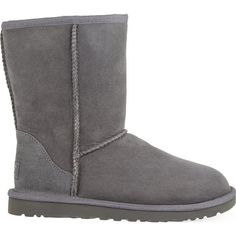 Ugg Classic Short sheepskin boots ($180) ❤ liked on Polyvore featuring shoes, boots, ankle booties, gray boots, ugg booties, grey booties, grey ankle booties and cold weather boots