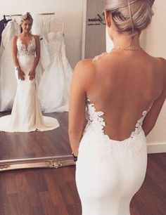 Fashion V-neck Lace Appliques Sheer Back Mermaid Wedding Dress,wedding dresses 2016,mermaid wedding dresses,backless wedding dresses