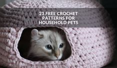 No description cat bed crochet pattern, 23 free crochet patterns for household pets winding the skein. By jenni designs: free crochet pattern: Cat Cave Crochet Pattern, Diy Crochet Cat, Crochet Cozy, Crochet Hooks, Free Crochet, Crochet Patterns, Hamster Bedding, Extreme Knitting, Felt Cat