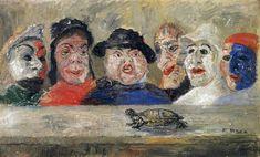 Máscaras que miran una tortuga, 1894. Expresionismo - James Ensor