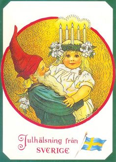 Tomte (nisse or gnome) with a Santa Lucia girl. By Jenny Nystrom. Swedish Christmas, Noel Christmas, Scandinavian Christmas, Vintage Christmas Cards, Christmas Images, Christmas Greetings, Vintage Cards, Christmas Tables, Modern Christmas