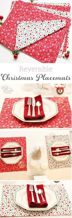 Tutorial on how to make placemats. This pattern makes reversible Christmas placemats along with tips for cutting out the fabric.