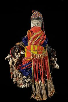 Africa | Fertility Doll ~ Ham Pilu ~ from the Fali people of Cameroon | Wood, leather, cowrie shells, glass beads, cotton | ca. 1970