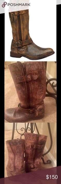 """Bed-Stu vintage, hand crafted leather riding boot. Barely worn, super cute, vintage distressed leather riding boot.  Hand crafted distressed leather upper with dual side zippers. 12"""" shaft height.  Size 7 and I normally wear a 7.5, so a little snug for my feet.  1 - 1/4 in heel height. Bed Stu Shoes Winter & Rain Boots"""