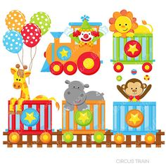 Circus Train Cute Digital Clipart for Commercial or Personal Use, Circus…