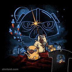 Pug Wars | Shirtoid #dog #dogs #film #movies #pug #scifi #starwars #thebrothershildebrandt #walmazan #wenceslaoalmazan