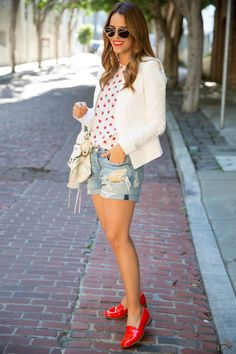 3.14 strawberries (Theory blazer + Equipment strawberry print blouse + Rag & Bone jeans + Balenciaga bag + Dieppa Restrepo loafers + Illesteva sunnies + NARS 'heat wave' lipstick)