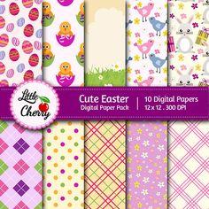 Cute Easter - 10 printable Digital Scrapbooking papers - 12 x12 - 300 DPI