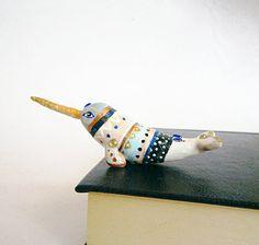 Narwhal figurine, Navajo art, One of a Kind