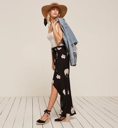 This fuss-free floral wrap skirt can be styled alongside a simple tank + a denim jacket for maximum impact.