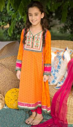Buy Orange Embroidered Linen Dress by PakRobe.com Call: (702) 751-3523  Email: Info@PakRobe.com www.pakrobe.com https://www.pakrobe.com/Women/Clothing/Girls-Party-Dresses #GIRLS #PARTY #DRESSES