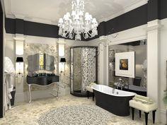 ар-деко монохромная ванная комната