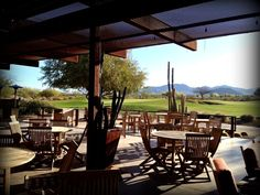 We could sit on this patio all day and enjoy the scenery! At Longbow Golf Club in Mesa, Arizona. #DesertBeauty