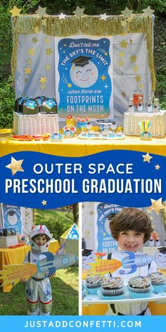 """This """"footprints on the moon"""" outer space preschool graduation theme is so much fun! Perfect for both class ceremonies or individual celebrations, and kindergarten graduation, too! I've created a huge pack of party printable decorations to make planning your party a breeze. From gift tags, to cupcake toppers & graduation certificates...I've got you covered! Everything is available in my Just Add Confetti Etsy shop. Head to justaddconfetti.com for more simple graduation and end of the year ideas!"""