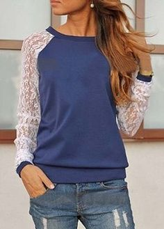 Street Style Scoop Neck Long Sleeve Blue Lace T Shirt