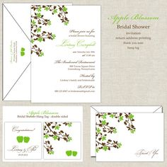 Apple Blossom Bridal Shower Invitation in Apple Green and Chocolate Brown. $25.00, via Etsy.