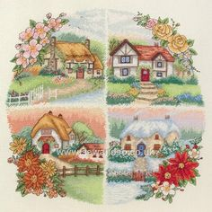 Buy Seasonal Cottages Cross Stitch Kit Online at www.sewandso.co.uk