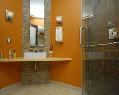 Corner Vanity and very cool sink