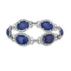 Penny Preville True Blue 18K White Gold Blue Sapphire & Diamond Link Bracelet