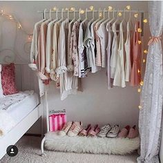 13 Creative Closet Hacks Every Fashion Girl Should Have - Dorm Room Hacks Ideas Room Ideas Bedroom, Closet Bedroom, Bedroom Storage, Home Bedroom, Bedroom Decor, Master Closet, Wardrobe Storage, Clothes Rack Bedroom, Shoe Storage