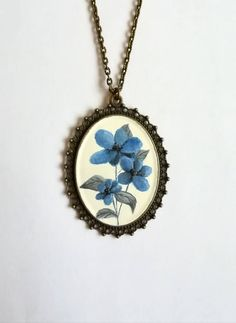 Unique Gifts, Handmade Gifts, Blue Flowers, Miniatures, Hand Painted, Etsy Shop, Pendant Necklace, Trending Outfits, Unique Jewelry