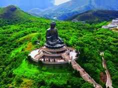 Serene giant buddha in Hong Kong, China