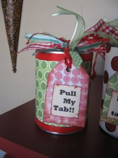 Pop top cans for presents - she does Christmas stuff but you could easily replace it with birthday or any other holiday
