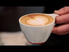 heart latte lesson. 'pouring to the center, getting close when it's 3/4 full, pulling up to suck in, then cutting through. That's a heart.' Coffee Latte Art, Coffee Cups, Iced Coffee, Coffee Barista, Coffee Shop, Coffee Maker, Latte Art Tutorial, Espresso, How To Make A Latte