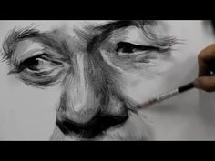 How To Draw Eyes , Nose & Mouth with Charcoal vs Pencil by Fine Art Academy - Drawing Technique