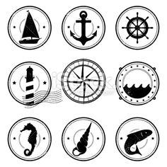 Nautical grunge symbols Royalty Free Stock Vector Art Illustration