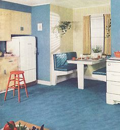 Trendy Home Style Classic Floors 44 Ideas 1940s Home, Retro Home, 1930s, Kitchen Nook, Kitchen Ideas, Kitchen Designs, Vintage Interiors, Trendy Home, Vintage Kitchen