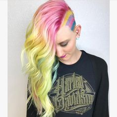 @stevi.courageandhair is the artist... Pulp Riot is the paint. #pulpriothair #Rainbow #haircolor #hair #beauty #hairstyle