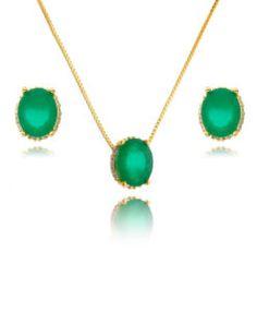 conjunto de semi joias folheado a ouro com pedra esmeralda joias finas
