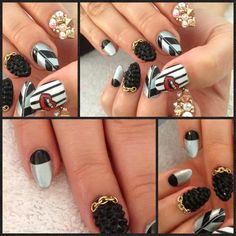 Black and Gray Kiss Theme Stiletto Almond Nails @nailsyulieg