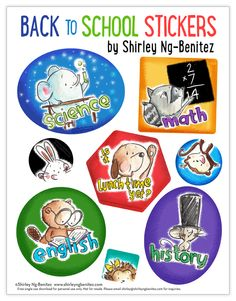 We Love to Illustrate: FREE Back to School Stickers download from Shirley