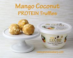Mango Coconut Protein Truffles - Andréa's Protein Cakery high protein recipes, no bake protein bites