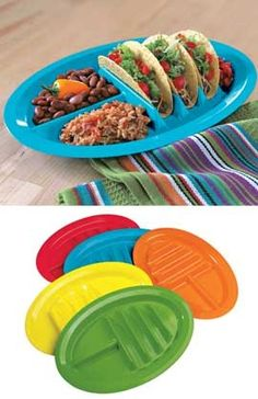 It's easier to prepare, serve and eat tacos with Taco Plates. Not only do these plates hold three tacos upright from prep to dining, they keep beans, rice and salsa separate. Durable enough for the dishwasher.perfect for the patio. Kitchen Items, Kitchen Hacks, Kitchen Gadgets, Kitchen Tools, Kitchen Products, Kitchen Stuff, Cooking Gadgets, Kitchen Things, Kitchen Supplies