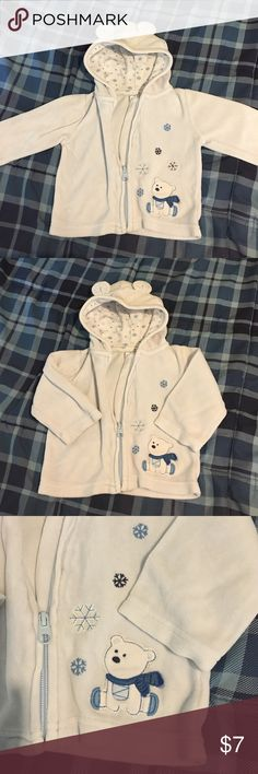 Carter's Baby Hoodie Size 9 months Baby blue Carters baby hoodie with polar bear on front size 9 months Carter's Jackets & Coats