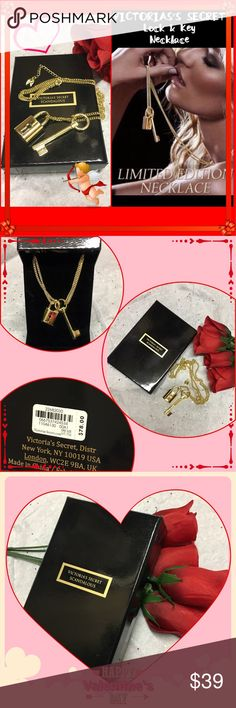 """VICTORIA'S SECRET Limited E. lock/key necklace VICTORIA'S SECRET Limited Edition Lock & Key golden necklace. Chain is 18.5"""" L Key is 2.5"""" L & Lock is 3"""". Makes a beautiful one of a kind ❤️ Valentine's Day gift. ❤️ NWT Victoria's Secret Jewelry Necklaces"""