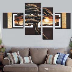 Compre Enormes Tamaños De Pared Cuadros Decorativos Pintados A Mano  Amanecer Paisaje Pintura Al Óleo 4 Conjunto De Paneles Lienzo De Grupo Sin  Marco A ... c7b2d5aefee