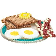 """Have fun creating a """"healthy breakfast"""" out of Perler Beads, complete with eggs sunny side up, bacon, and whole wheat toast with a pat of butter! Great to use with youngsters for playing pretend, or for a school project about nutrition. Melty Bead Patterns, Pearler Bead Patterns, Perler Patterns, Beading Patterns, Melty Beads Ideas, Diy Perler Beads, Perler Bead Art, Pearler Beads, Fuse Beads"""