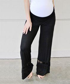 Love this Black Crochet-Trim Maternity Palazzo Pants on #zulily! #zulilyfinds