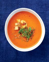 Chunky Tomato Soup   For the best texture in this vibrant tomato soup, puree half of the soup until smooth, then stir it into the chunky base.