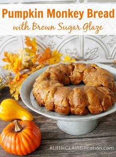 Pumpkin Monkey Bread with buttery Brown Sugar Glaze - An Easy & Delicious Fall Treat!
