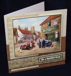 Joanna Sheen project - A real old vintage garage which may bring back childhood memories to some - what a great Father's Day card! Art Pad, Craftwork Cards, Masculine Birthday Cards, Men's Cards, Great Father, Create And Craft, Childhood Memories, Cardmaking, Projects To Try